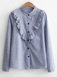 Button Down Ruffles Stripes Shirt - Blue M