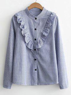Chemise Boutonnée à Volants à Rayures  - Bleu S