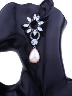 Rhinestone Faux Pearl Teardrop Floral Earrings - Pink + White