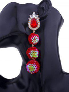 Faux Gem Sparkly Teardrop Sequins Ball Earrings - Red