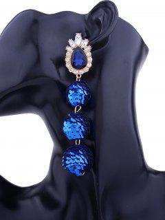 Faux Gem Sparkly Teardrop Sequins Ball Earrings - Blue