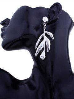 Simple Metal Leaf Earrings - Silver