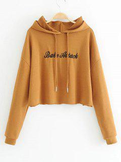 Cropped Letter Embroidered Hoodie - Sugar Honey S