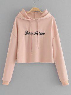 Cropped Letter Embroidered Hoodie - Pink M