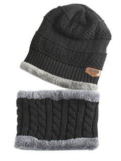 Label And Striped Pattern Decoration Knitted Beanie And Scarf - Black
