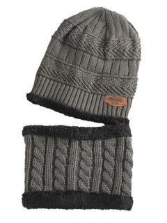 Label And Striped Pattern Decoration Knitted Beanie And Scarf - Gray