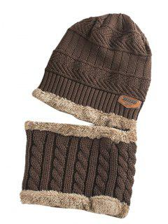 Label And Striped Pattern Decoration Knitted Beanie And Scarf - Coffee