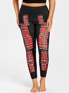 Plus Size Plaid Color Block Leggings - Red 4xl