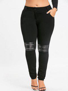 Plus Size Zippers Embellished Skinny Pants - Black 3xl