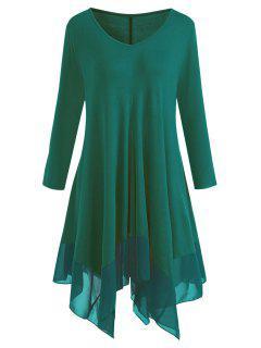 Plus Size Chiffon Panel Handkerchief Hem Tunic Dress - Deep Green 2xl