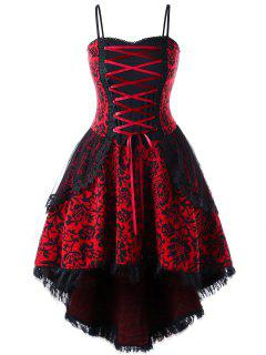 Robe Taille Haute Avec Dentelle - Rouge 2xl
