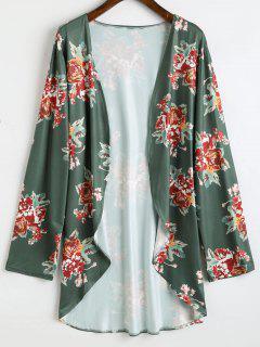Kimono Haut-Bas Floral Long Grande Taille - Vert Profond 4xl