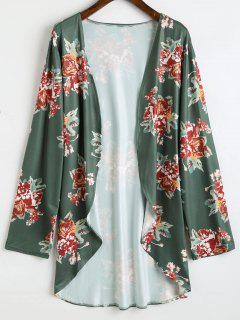 Plus Size High Low Floral Kimono - Deep Green 3xl