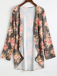 Plus Size High Low Floral Kimono - Green Brown 3xl