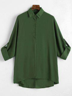Plus Size Roll Up Sleeve Chiffon Blouse - Army Green 2xl
