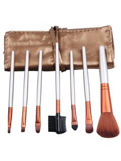 Portable 7Pcs Beauty Tools Makeup Brushes Set With Bag - Champagne Gold
