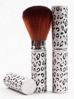 Retractable Portable Makeup Tool Leopard Powder Brush - White