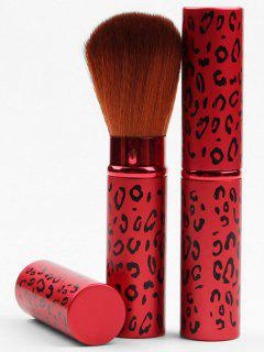 Retractable Portable Makeup Tool Leopard Powder Brush - Red