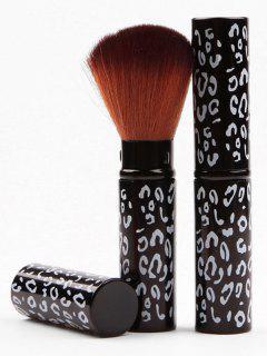 Retractable Portable Makeup Tool Leopard Powder Brush - Black