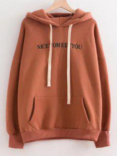 Oversized Drawstring Letter Embroidered Hoodie - Coffee Brown