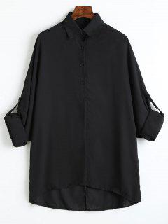 Plus Size Roll Up Sleeve Chiffon Blouse - Black 3xl