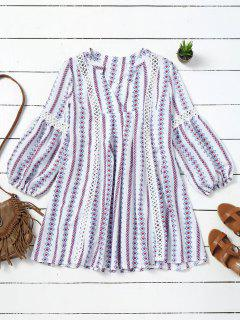 Long Sleeve Hollow Out Tribal Tunic Dress - White L