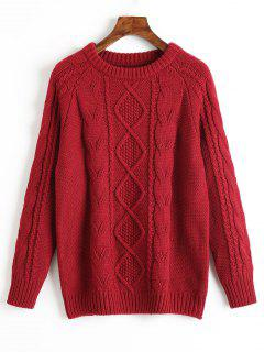 Crew Neck Plain Cable Knit Sweater - Deep Red