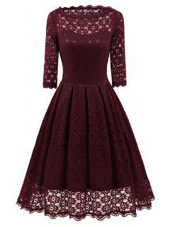 Lace Vintage Party Fit And Flare Dress - Wine Red L