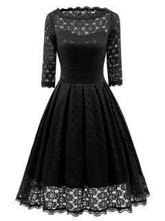 Lace Vintage Party Fit And Flare Dress - Black L