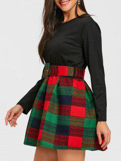 Long Sleeve Plaid Mini Skater Dress - Black L