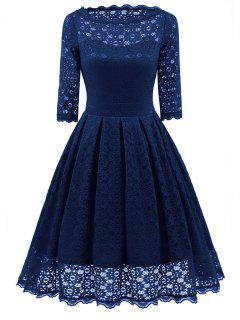 Lace Vintage Party Fit And Flare Dress - Blue 2xl
