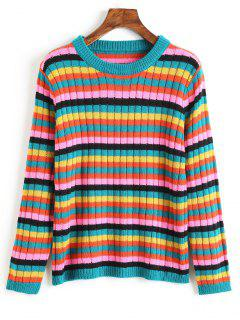 Crew Neck Multicolored Striped Sweater - Multi M