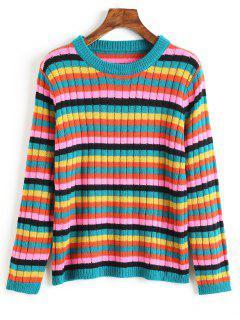 Crew Neck Multicolored Striped Sweater - Multi L