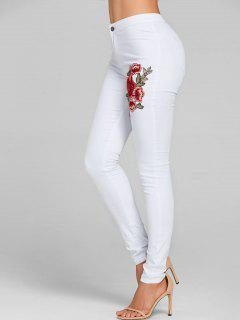 Floral Embroidery Skinny Colored Jeans - White Xl