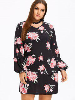 Balloon Sleeve Plus Size Floral Choker Dress - Black 2xl