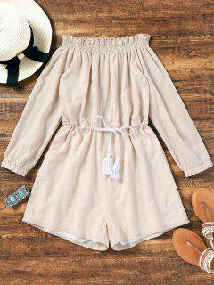 Tassels Ruffled Off Shoulder Romper - Light Apricot S