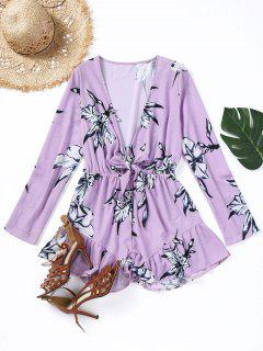 Bow Tied Floral Ruffle Hem Romper - Light Purple L