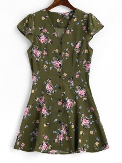 Cap Sleeve Floral Button Up Mini Dress - Army Green M