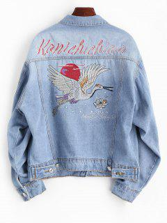 Floral Crane Embroidered Denim Jacket - Denim Blue S
