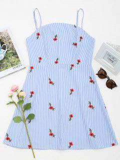 Floral Patched Striped Cami Mini Dress - Light Blue L