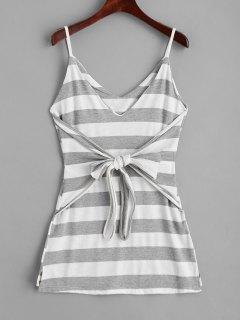 Slip Bowknot Stripes Mini Dress - Stripe M