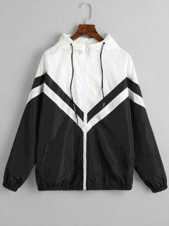 Color Block Zig Zag Windbreaker Jacket - Black M