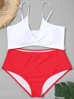 Cutout Two Tone Plus Size Swimsuit - Red Xl