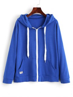 Contrasting Drawstring Zip Up Hoodie - Blue L