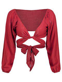 Self Tie Plunging Neck Crop Blouse - Red S