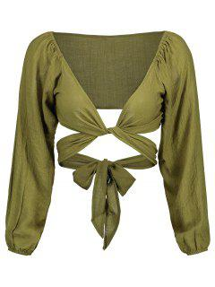 Self Tie Plunging Neck Crop Blouse - Army Green L
