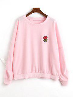 Floral Appliques Embellished Sweatshirt - Pink L