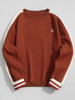 Striped Fleece Crew Neck Sweatshirt Men Clothes - Jacinth Xl