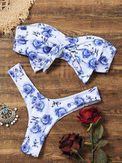 Bowknot Floral Thong Bandeau Bikini - White L