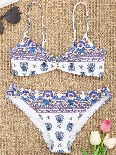 Bikini à Imprimé Floral Minuscule Rembourré - Blanc S